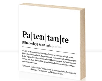 Patentante definition | Personalized gift | | baptism Wooden picture | Art printing | godmother