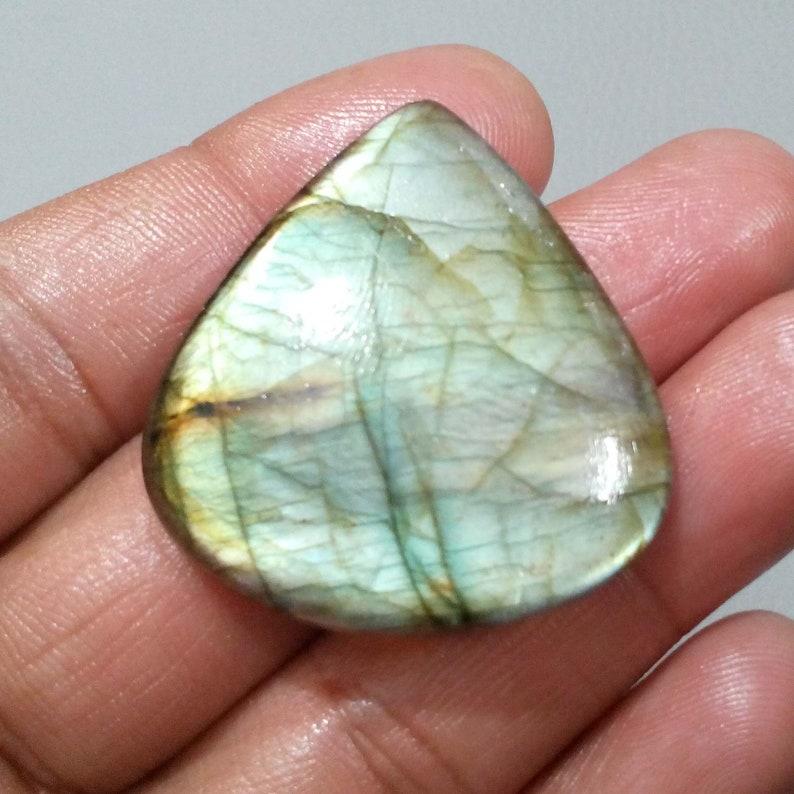 High Quality Greenish Labradorite Cabochon Teardrop Shape Loose Gemstone 84.50 Crt 40x37x8 mm For Making Jewelry