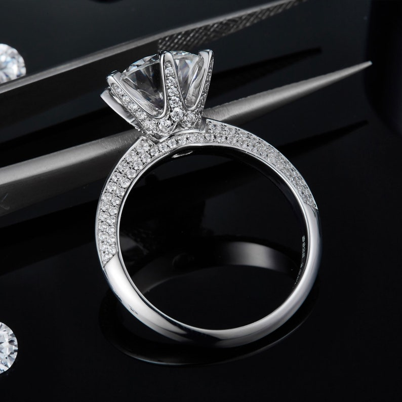 Bridal Wedding Bands 925 Sterling Silver Rings For Women 3.0CT Round Brilliant Cut Moissanite Ring Diamond Band Engagement Ring