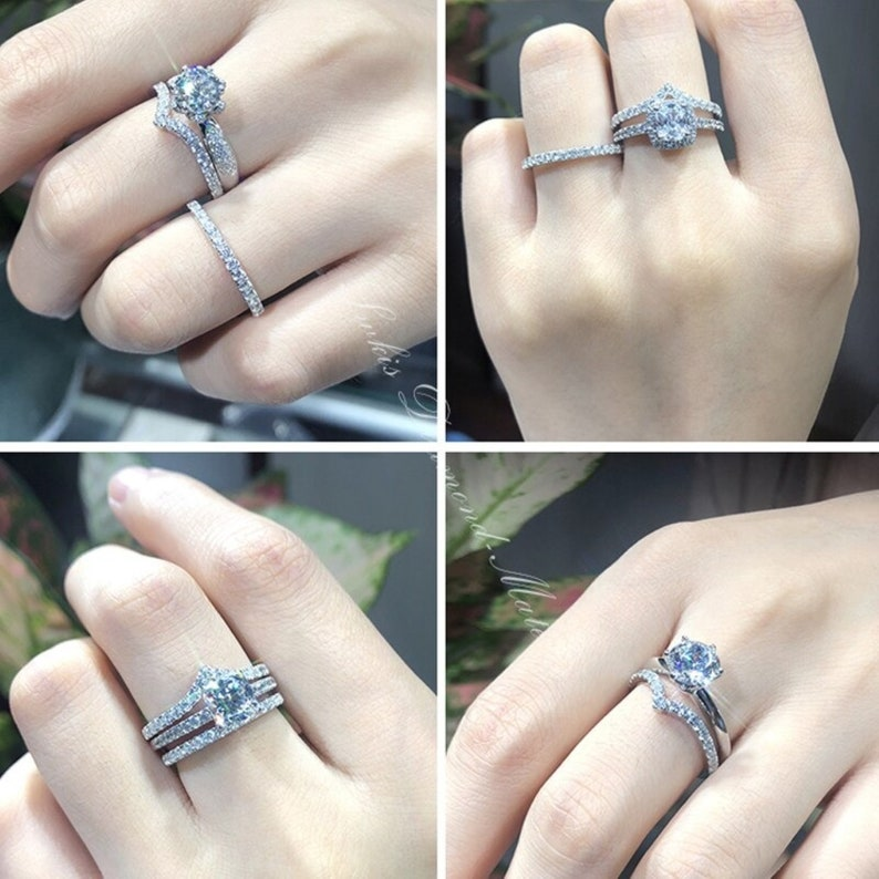 925 Sterling Silver Rings For Women White Gold Plated Moissanite Bridal Wedding Bands Dainty Wedding Band 0.45Ct Moissanite Eternity Band