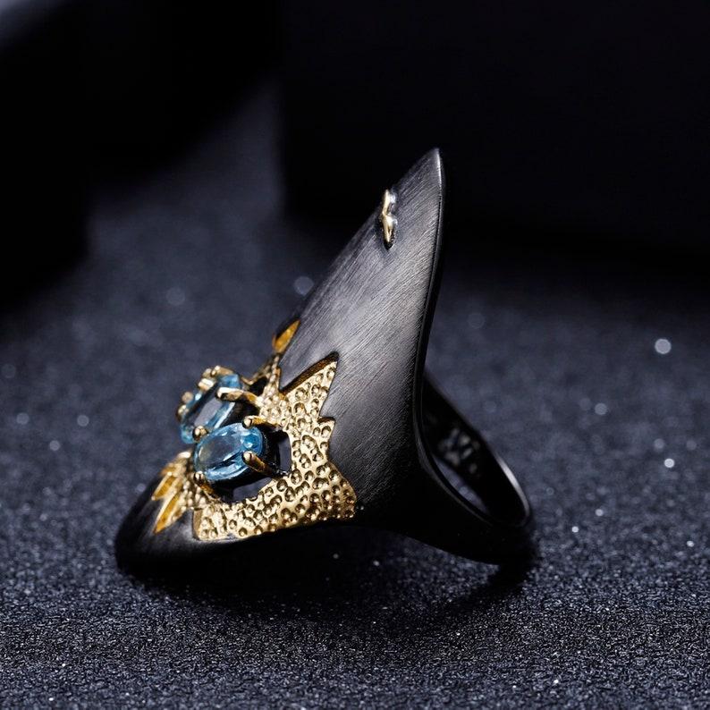 Dainty Wedding Handmade Ring Aesthetic Promise Rings For Women Blue Topaz Geometric Statement Ring 925 Sterling Silver Ring Gift For Her
