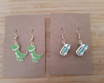VW Camper Van style enamelled and silver plated charm on silver plated earring wires matching charm bracelet also available