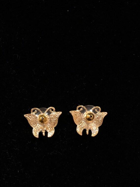 Vintage .925 Crystal Butterfly Drop Threader Earrings ETC4685