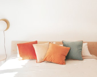 """Monteverde Set – Pack of 4 Decorative Throw Pillow Covers (18"""" x 18"""") - Orange/Teal"""