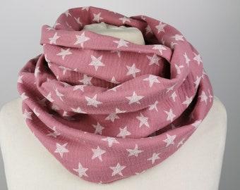 Musselin Loop Scarf in Pink with Stars Handmade