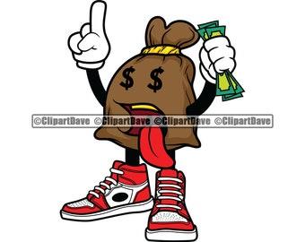 Money Bag Holding Money Stack Cartoon Character Tongue Out SVG Design Cash Dollar Sign Hustle Hustler Rich Hip Hop Rapper Cut File Jpg PNG
