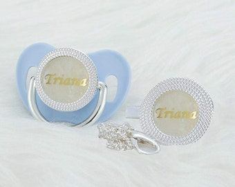 Personalized pacifier with pacifier clip unique baby gift baby shower gift christening gift pearl and gold metallic