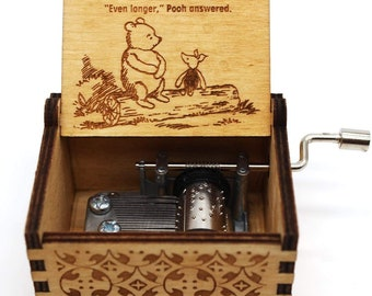 Wooden Music Box – The Pooh Saying, Winnie The Pooh, Gift for Christmas, Holiday, Birthday, Anniversary