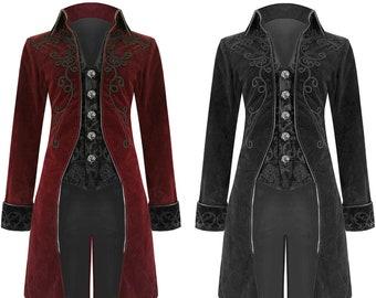 Fashion Mens Tailcoat Black / Maroon Velvet Goth Steampunk Aristocrat Regency Jacket