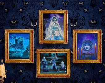 """Set of 4 Haunted Mansion Lithographs - 8""""x10"""", Madame Leota, Hitchhiking Ghosts, Constance Hatchaway, Hatbox Ghost"""