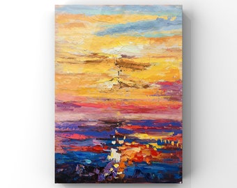 Large original oil painting, modern home decor, wall art bedroom , abstract painting, canvas artwork, sunset painting, acrylic painting