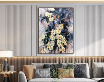 Large original oil painting, modern home living wall decor, flower painting on canvas, acrylic painting, designer wall art,  floral painting