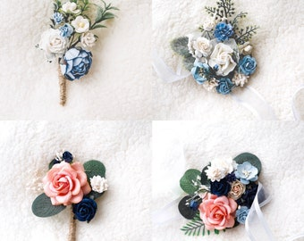 coral rose navy ribbon white tulle coral calla lily prom wedding dance wrist corsage boutonniere set