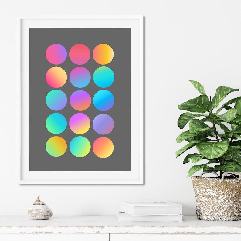 Pride Futuristic Minimalist Wall Art Mardi Gras Scandinavian style Geometric PRINTED Fun Dots 02 Rainbow Kaleidoscopic
