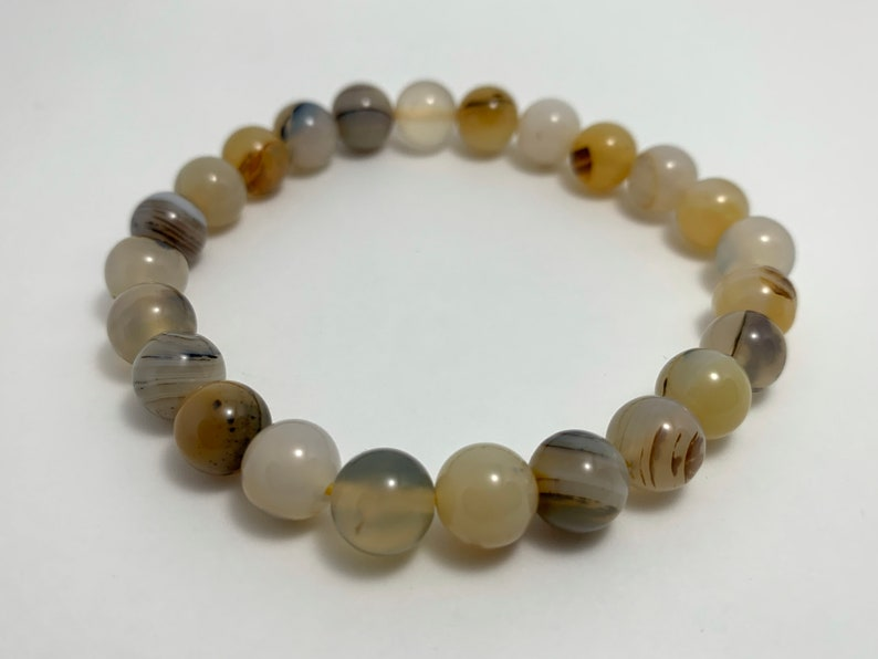 with natural genuine smooth round polished crystal Montana Agate Stretch Bracelet 8mm