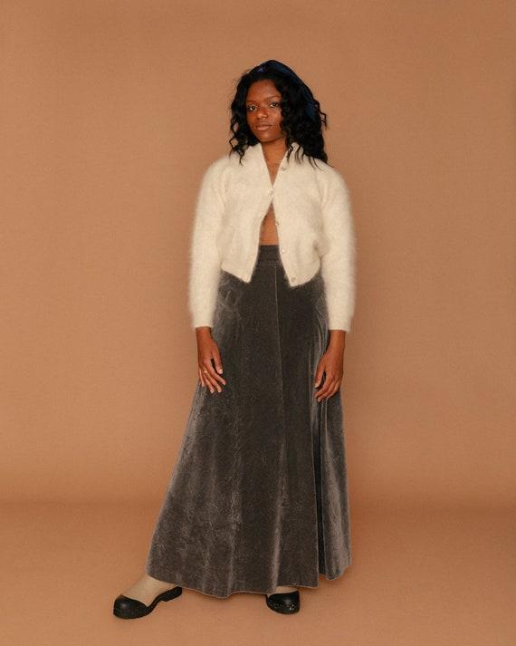 Grey Velvet Victorian Maxi Skirt