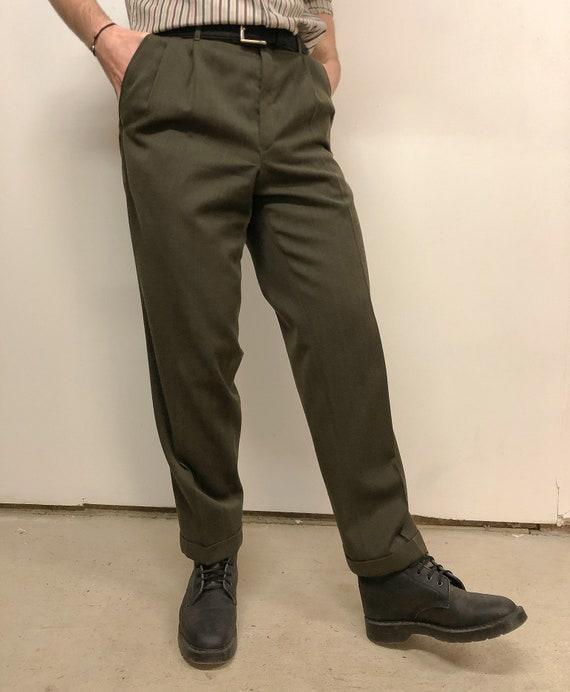 Retro Green Trousers | Minimalist vintage trousers