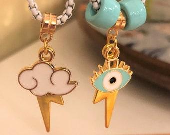 White Box Chain Charm Necklace/ Lightening Bolt Necklace/ Cloud Charm Necklace/ Evil Eye Charm Necklace