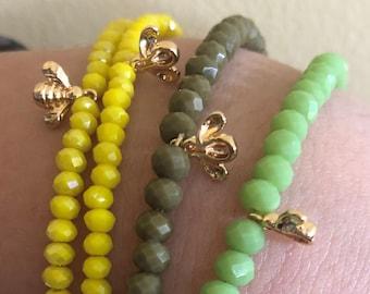 Bee Charm Bracelets/ Save the Bees Bracelets / Gold Bee Bracelet