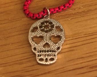Neon Sugar Skull Necklace/ Silver Sugar Skull Necklace /  Dia de los Muertos Necklace/ Day of the Dead Necklace