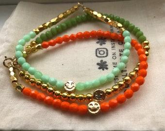 Smiley Face Beaded Charm Bracelets/ Happy Face Bracelets/ Gold Charm Bracelets