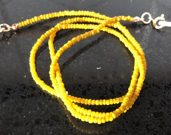 Beaded Convertible Necklace with Vintage French Mustard Yellow Beads/ Eyeglass Chain/ Mask Chain