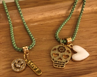 Green Box Chain Charm Necklace/ Sugar Skull Necklace/ Smiley Face Charm Necklace/ Dia de los Muertos Necklace