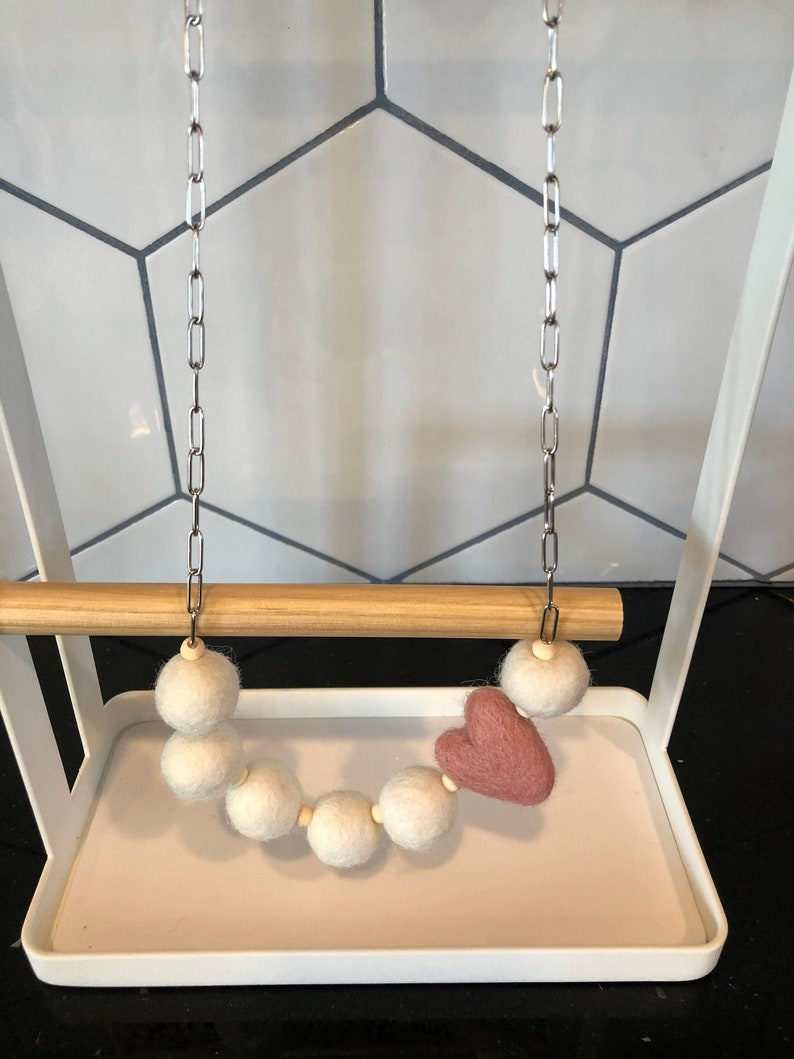Felted White Ball and Heart /& Stainless Paperclip Chain Necklace