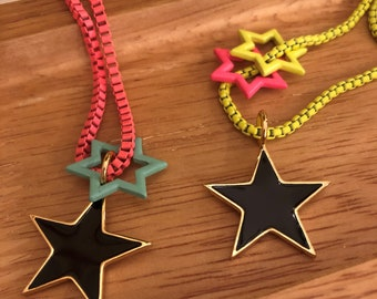 Neon Box Chain Charm Necklaces/ Star Charm Necklaces/ Enamel Star Necklace
