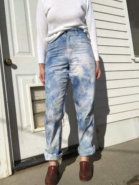 Rugged Blue hand dyed painter pants.