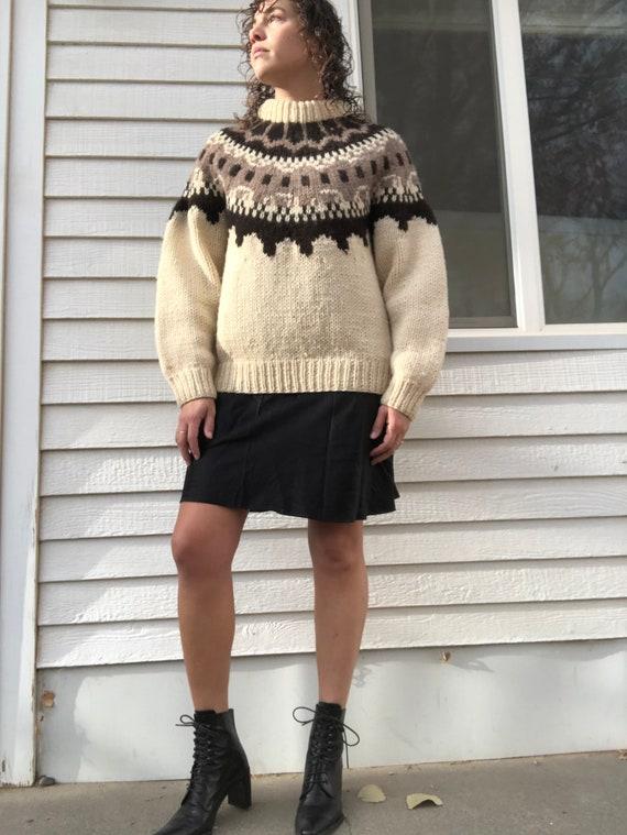 Hand knit wool Greek fisherman sweater