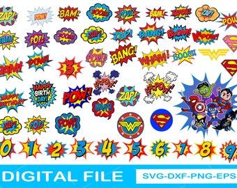 Bang Boom Blast Svg Bundle, Superhero SVG, Happy Birthday Comics Svg, Kapow Zam Svg, Funny Comical Speech Clouds Svg, Cartoon Speech Svg