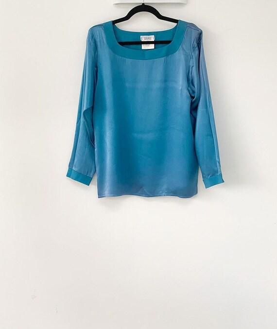 Vintage Yves Saint Laurent blue blouse