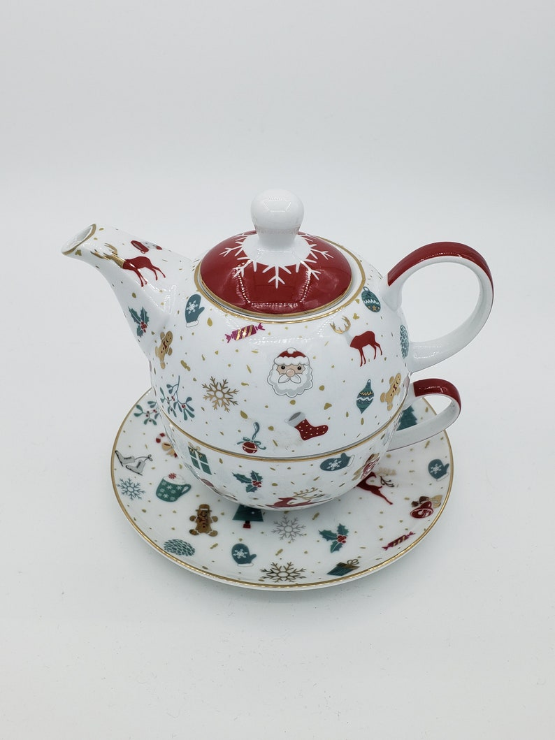 CHRISTMAS TEAPOT  Tea Gift Set  Tea for One Teapot & Cup  image 0
