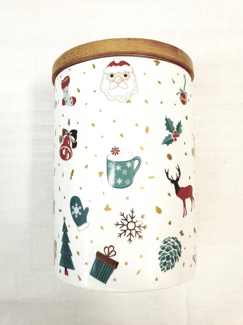Airtight Porcelain Jar/tin/container with Bamboo lip image 0