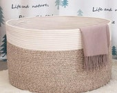 Handmade Cotton Rope Basket Woven Wicker Storage,kids toys organizer,Laundry hamper Boho decor Seagrass bathroom Basket planter pot XXXLarge