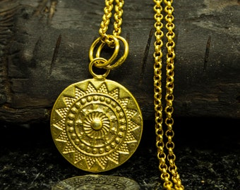 2   Mandala Coins Links Connectors 24K Matte Gold plated Sun boho tribal style Turkish Jewellery supplies crafts mdla0585A