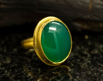 Gold Jade Ring, 24K Gold Plated 925 Sterling Silver, Gemstone Ring, Handmade Jewelry, Nephrite Jade Ring, Dainty Vintage Ring by Sirona