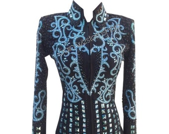 Western Show Pleasure Women Horsemanship Vest With Black Shirt For Horse Shows On Glass Crystal Applique And Sequins On  Blue Base Fabric