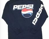 New Mens Pepsi Cola Vintage Classic T-Shirt Logo Tee Navy Blue Long Sleeve New