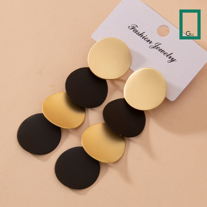 Pushback Earrings Handmade Party Jewelry Gift For Women Vintage Earrings Geometric Round Long Big Black And Gold Color Unusual Dangle