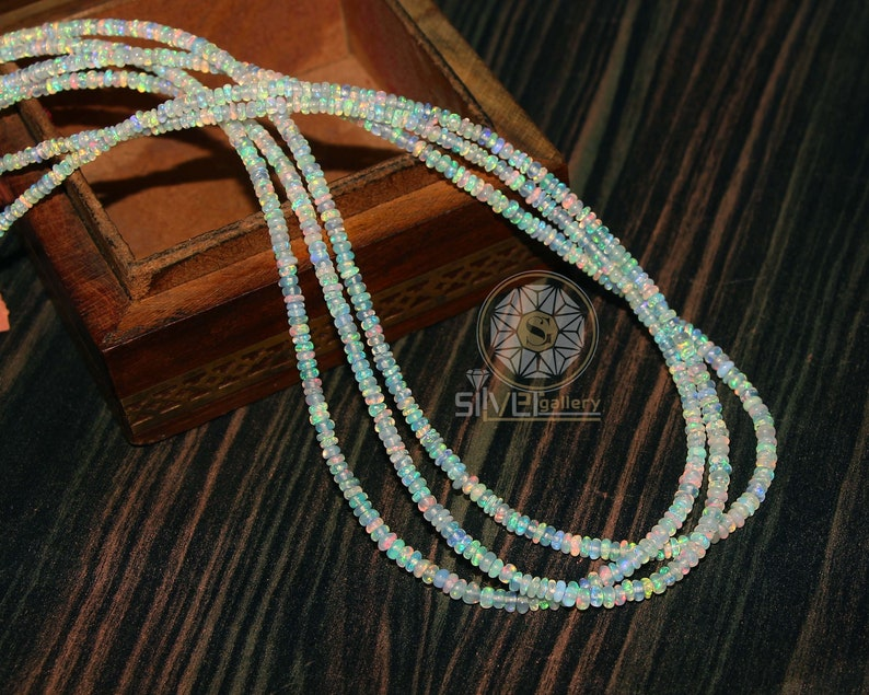 24Ct Natural Ethiopian Opal Stone Necklace Roundelles Smooth Beads Necklace