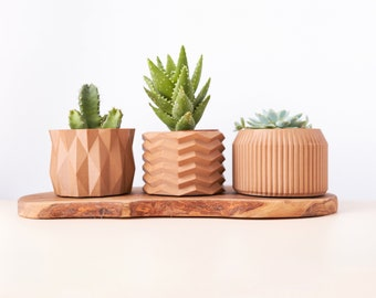 Set of 3 recycled wooden pot cover for plants