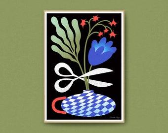 Chop Chop, Art print, Illustration, Art print, Poster, Poster, Spray printing, Bouquet of flowers