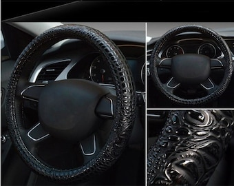 Modern Leather Steering wheel Cover - Comfortable Steering wheel protector  -  Fashionable Steering wheel cover