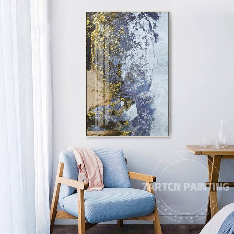 Frame Wall Art Abstract Gold Blue Brown Grey Print Painting on Canvas Wall Art Picture Large Print Printable Wall Art Prints