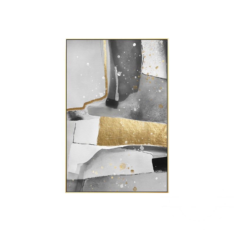 Frame Wall Art Modern Abstract Gold Grey Black and White Print Painting on Canvas Large Wall Art Picture Print Printable Wall Art Prints