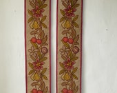 Matching Pair of French Antique Hanging Panels Needlepoint Gros Point Stitch Fruit Leaves 19th Century