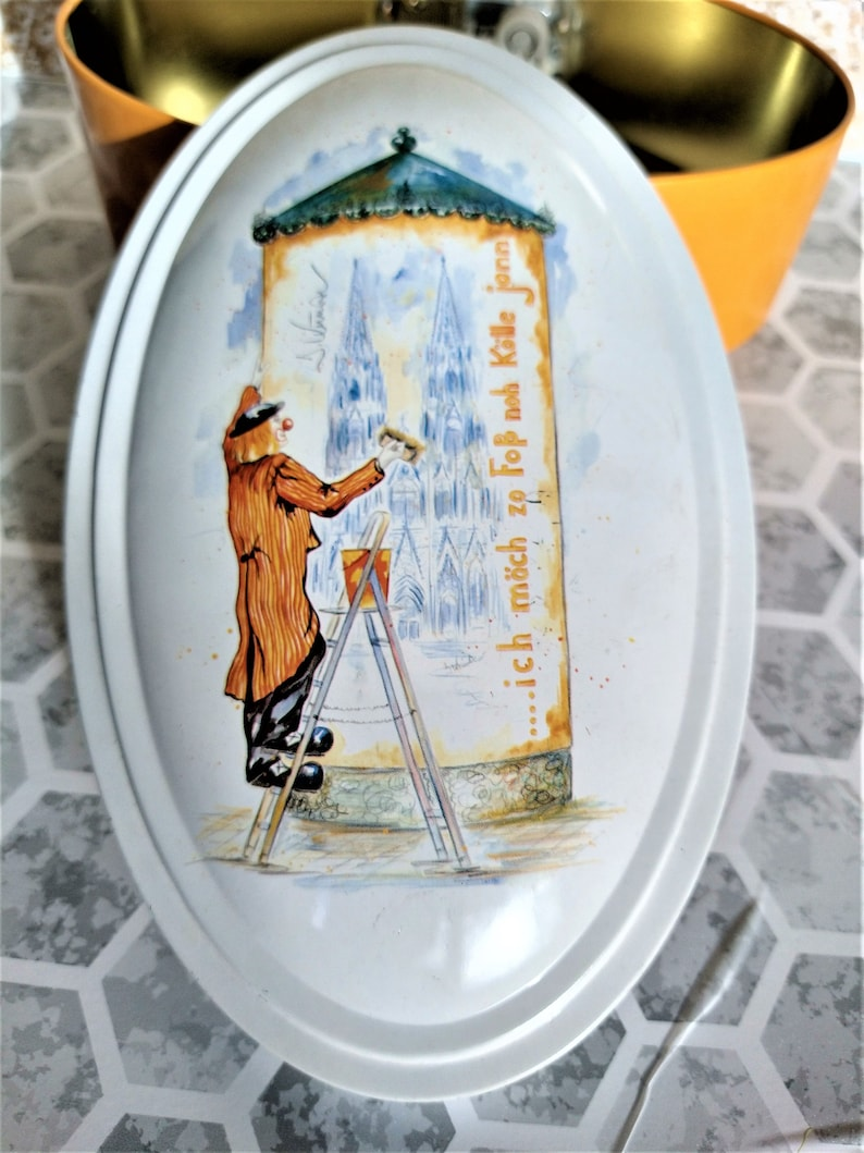 antique clown yellow tin box German tin clown truffle music box vintage jewelry box carnival