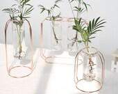 Glass Planter Bulb Vase with Metal Frame Terrarium Hydroponic Plant Vases Vintage Flower Pot